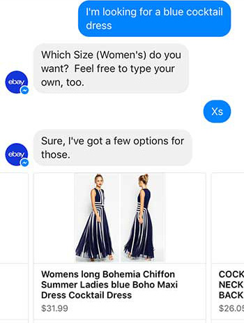 eBay Shopbot Facebook Messenger Shopping Chatbot